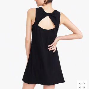 NWT J.Crew twist back cotton dress, black, S